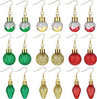 9 Pairs Christmas Earrings Glitter Light Bulb Dangle Earrings Xmas Balls Earrings Christmas Jewelry Holiday Earrings for W...