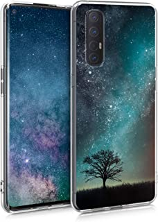 kwmobile Case Compatible with Oppo Find X2 Neo - Crystal TPU Cover with UV Print and Transparent Edge - Cosmic Nature Blu...