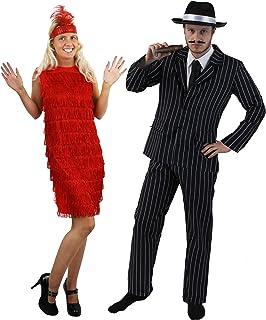 1d4beacfd Déguisements complets pour couple avec l'homme en tenue de gangster à  rayures et chapeau
