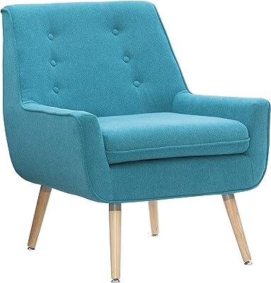 Linon Reid Bright Blue Accent Chair, Standard, Brown