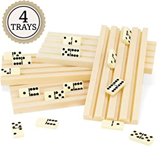 Brybelly Set of Four Plastic Domino Trays – Premium Holder Racks for Domino Tiles, Great for Mexican Train, Mahjong, Chickenfoot, Domino Games