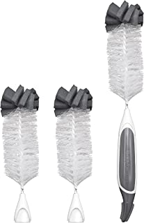 Baby Brezza 3 Piece Baby Bottle Wire Cleaning Brush - Eco Friendly, Removable Brushes - Same Handle, Easily Replace Brushes - Includes Handle and 3 Brush Heads, Grey