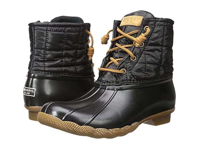 Sperry  Saltwater Shiny Quilted (Black) Womens Dress Boots