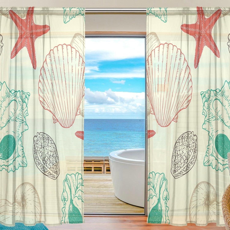 Vantaso Sheer Curtains 78 inch Long Vintage Shell Sea Stars for Kids Girls Bedroom Living Room Window Decorative 2 Panels