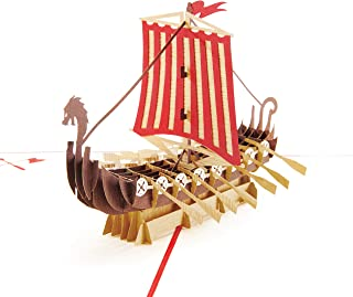 PopLife Warrior Viking Ship 3D Pop Up Card for All Occasions - Happy Anniversary Pop Up Father's Day Card, Pop Up Birthday Card for Men, Retirement Card - for Dad, for Husband, for Son, for Grandpa
