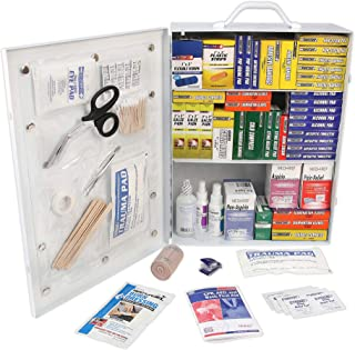 Rapid Care First Aid 80098 3 Shelf All Purpose First Aid Kit Cabinet, Class A+, Exceeds OSHA/ANSI Z308.1 2015, Wall Mounta...