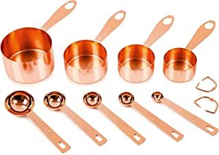Copper Measuring Cups and Spoons, Set of 9. PROVEN GIFT IDEA for Women or Men for Christmas. STURDY Copper-Plated Top-Quality Stainless Steel. Satin + Mirror Polish. Copper Finish. Under 30 Dollars