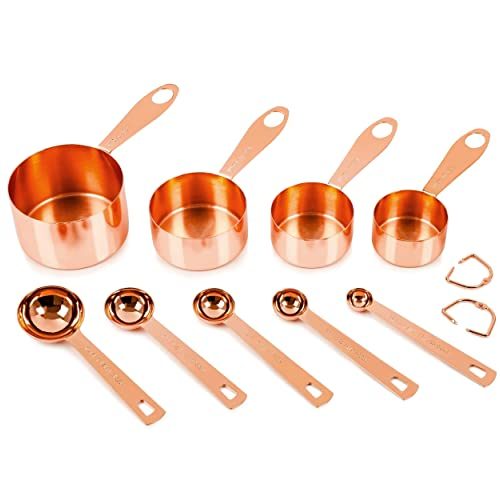 Copper Measuring Cups and Spoons, Set of 9: EXTRA STURDY Copper-Plated Top