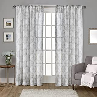 Exclusive Home Curtains Nagano Medallion Belgian Linen Window Curtain Panel Pair with Rod Pocket, 54x96, Dove Grey, 2 Count
