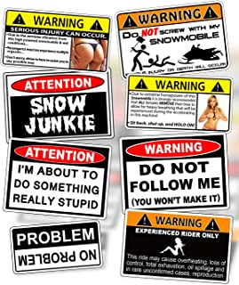 Funny Snowmobile Warning Decal Snow Mobile Ski Sled Vinyl Sticker PACK OEM Set