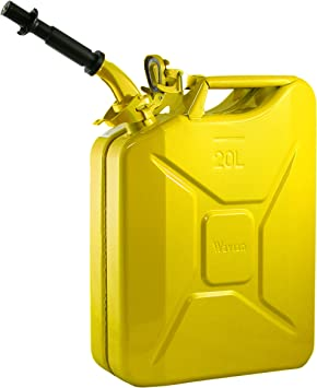 Wavian USA JC0020YVS Authentic NATO Jerry Fuel Can and Spout System Yellow (20 Litre): image