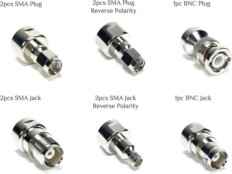 GIZWIZ RF Coaxial Universal Testing Adapter Connector Kit Gold Plating N F RCA TNC SMA BNC UHF Mini-UHF 40pcs