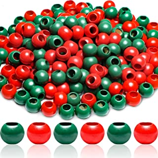 Wesiti 200 Pieces Wooden Beads with Large Hole 20 mm Red and Green Wood Loose Spacer Beads Vintage Style Macrame Beads Unf...