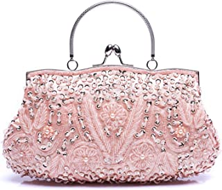 112098c72e VENI MASEE Collection Antique Floral Seed/Bead/Sequin Soft Clutch Evening  Bag, Exquisite