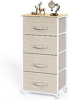 Pipishell Commode en Tissu avec 4 tiroirs, Grande Tour de Rangement, unité de Rangement avec Dessus en Bois et poignée Fac...