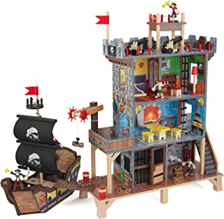 KidKraft 63284 Pirate's Cove Wooden Play Set for Kids with Pirate Ship and Action Figures Included