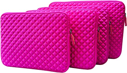 AZ-Cover 10.1-Inch Simplicity Stylish Diamond Foam Shock-Resistant Neoprene Sleeve (Hot Pink) For iRULU WalknBook 3 10.1 Inch Notebook, Hybrid 2 in 1 Tablet + One Capacitive Stylus Pen