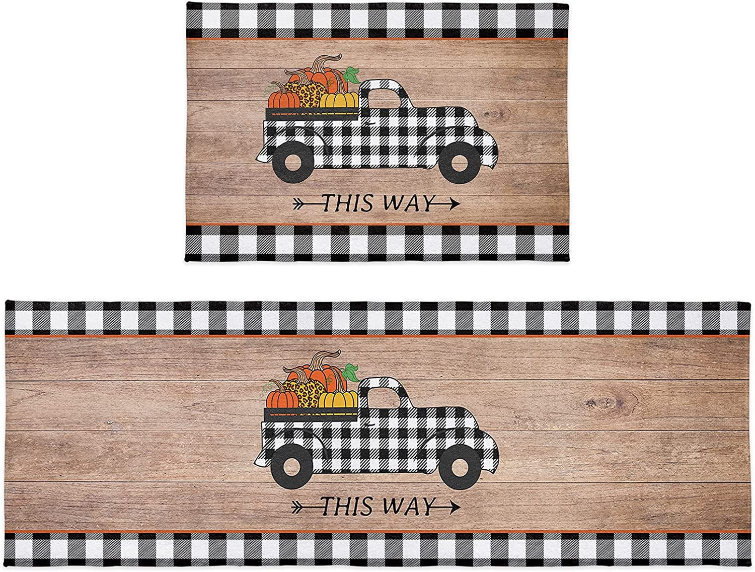 Kitchen Rug Sets 2 Piece Pumpkin Thanksgiving Plush Absorb Truck Tucson Don't miss the campaign Mall