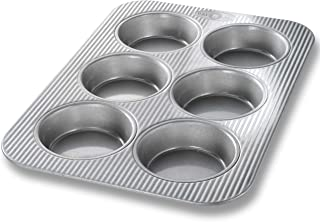 USA Pan 1240HM Bakeware Mini Round Cake and Cinnamon Roll Pan, 6 Well, Nonstick & Quick Release Coating, Made in the USA from Aluminized Steel, 15-3/4 by 11