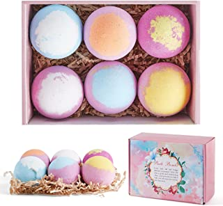 Bath Bombs Gift Set, 6pcs Fizzies Spa Kit with Pure Essential Oils, Coconut Oil, Epsom Salt, and Shea Butter, Kid Safe, Be...