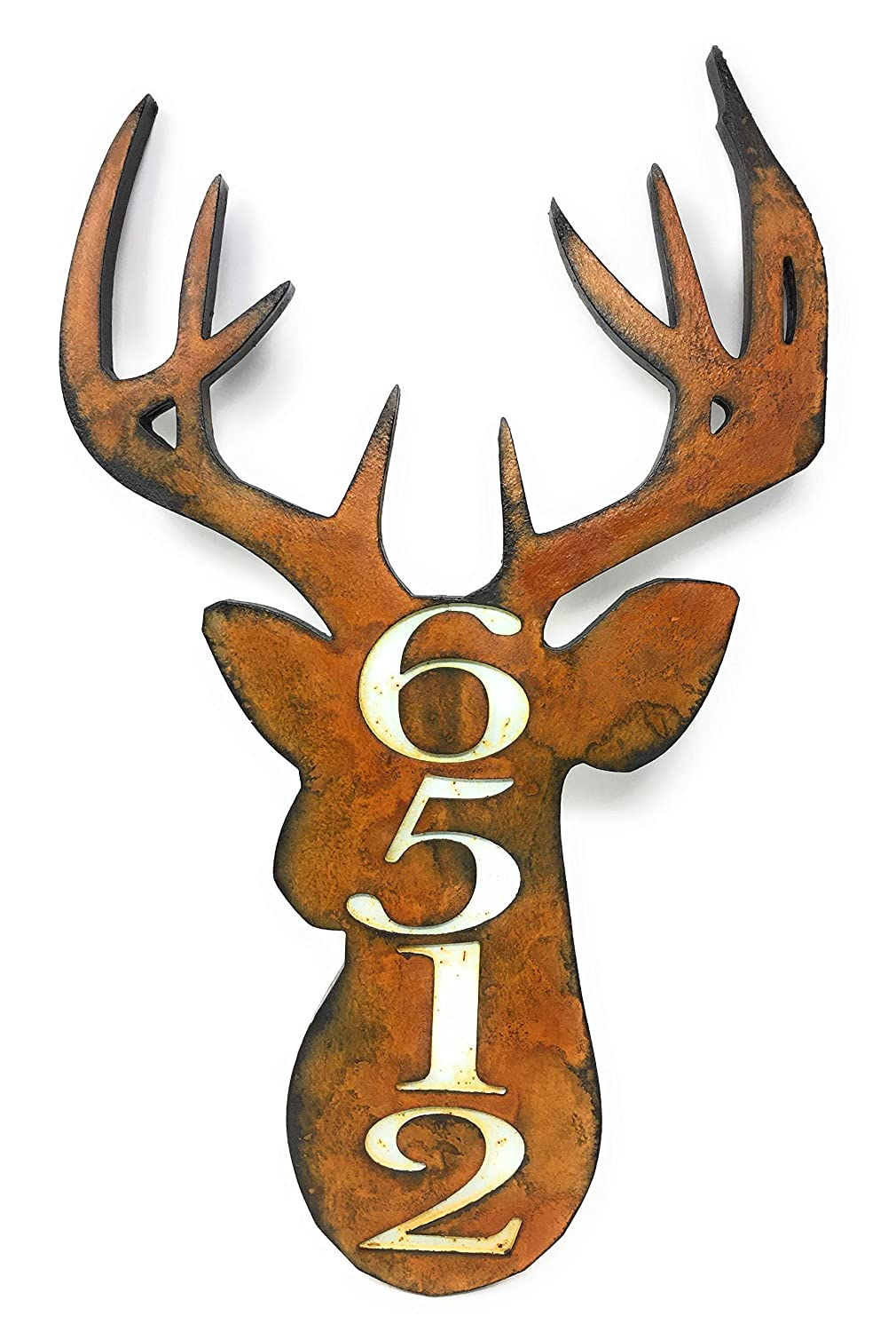 Deer House Number Quality Virginia Beach Mall inspection Sign.Rust Patina.Customized Home Address Sign.