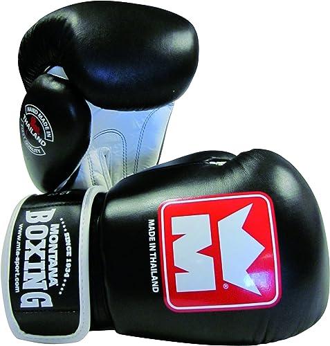 Montana THAIBOXING Gants de Boxe Muay Thai 14 oz Mixte Adulte, Noir