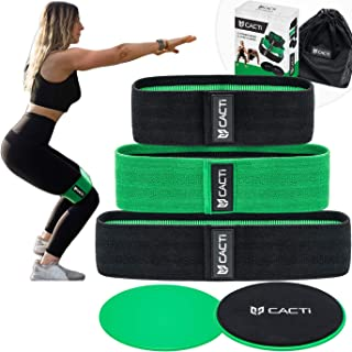 Fabric Resistance Bands & Core Sliders Exercise Set – 3 Booty Bands & 2 Strength Slides for Legs, Butt, Hips, Glutes, Abs, Shoulders & Arms - Non Slip & Non-Rolling