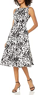 Women's Sleeveless Print Mikado Party Dress