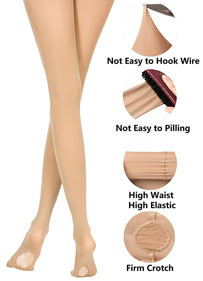 MOLLDAN Girls' Dance Ballet Tights for Women Pro Ultra Soft Convertible Transition Tight(Toddler/Little Kids/Adult/Student/Big Kid)