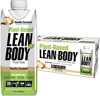 Lean Body Ready-to-Drink, Plant-Based Vegan Vanilla Caramel Protein Shake, 30g Protein, No Artificial Flavors, Sweeteners ...