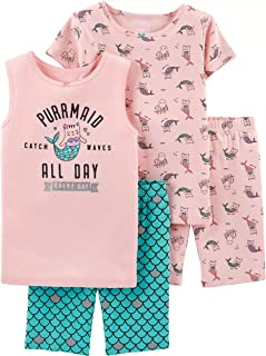 Girls' 4-Piece Summer Snug Fit Cotton Pajamas