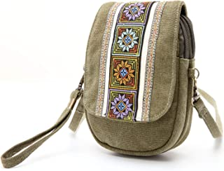 Embroidery Canvas Crossbody Bag Cell phone Pouch Coin Purse for Women