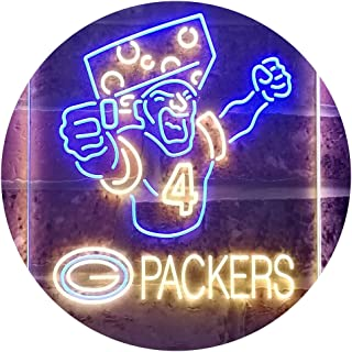 TeroLED Green Bay Packer #4 Brett Favre Colorful LED Neon Sign Blue and Yellow w16 x h24