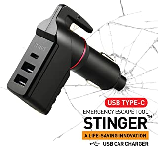 Ztylus Stinger USB Type C Car Charger Emergency Escape Tool: Spring Loaded Window Breaker Punch, Seat Belt Cutter, 1 USB-C Port + 2 USB-A Ports Cigarette Charger, 3.0A Max Output (1 pc Black)