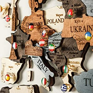 World Map Wall Wooden Map of the World Map Wooden Travel Push Pin Map Rustic Home Wood Wall Art Wall Art Decor Wall Art For Home & Kitchen Wall Art For Office Halloween Decor, Christmas Gift