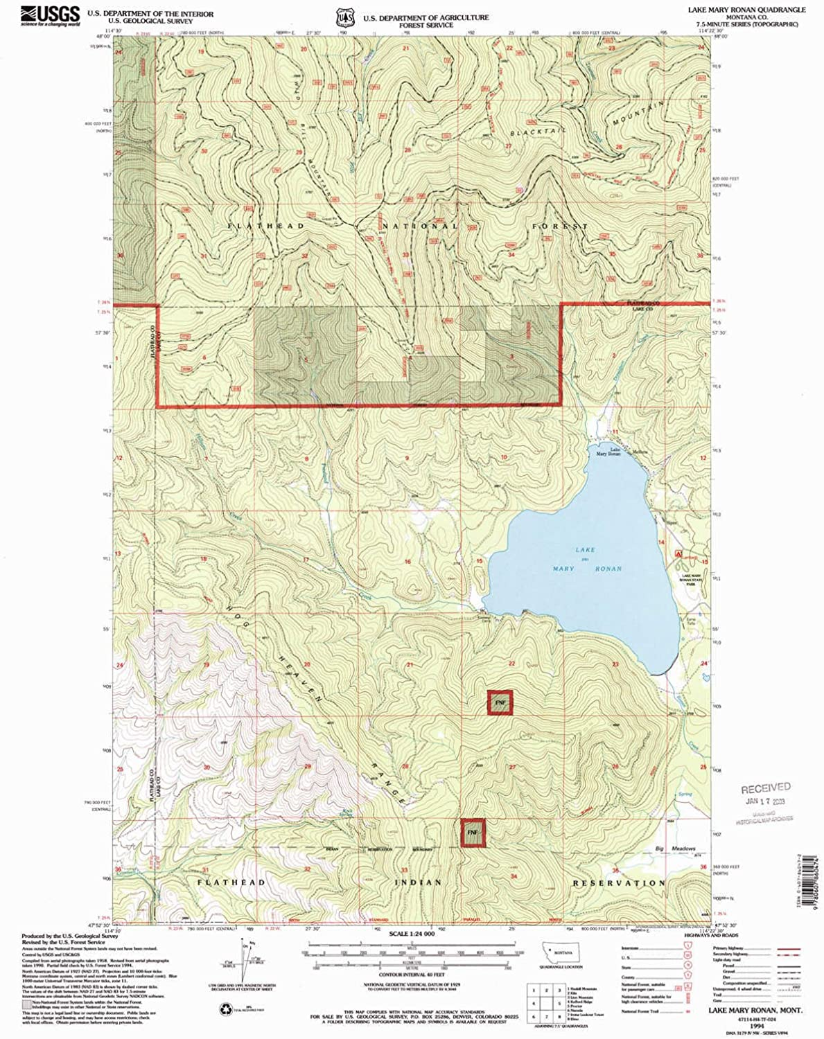 Lake Mary Ronan MT topo map, 1 24000 Scale, 7.5 X 7.5 Minute, Historical, 1994, Updated 1996, 27 x 22.1 in