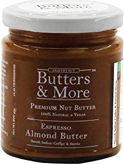 Butters & More Keto Espresso Almond Butter with South Indian Coffee & Natural Stevia Extract (200G). Natural Preworkout. K...