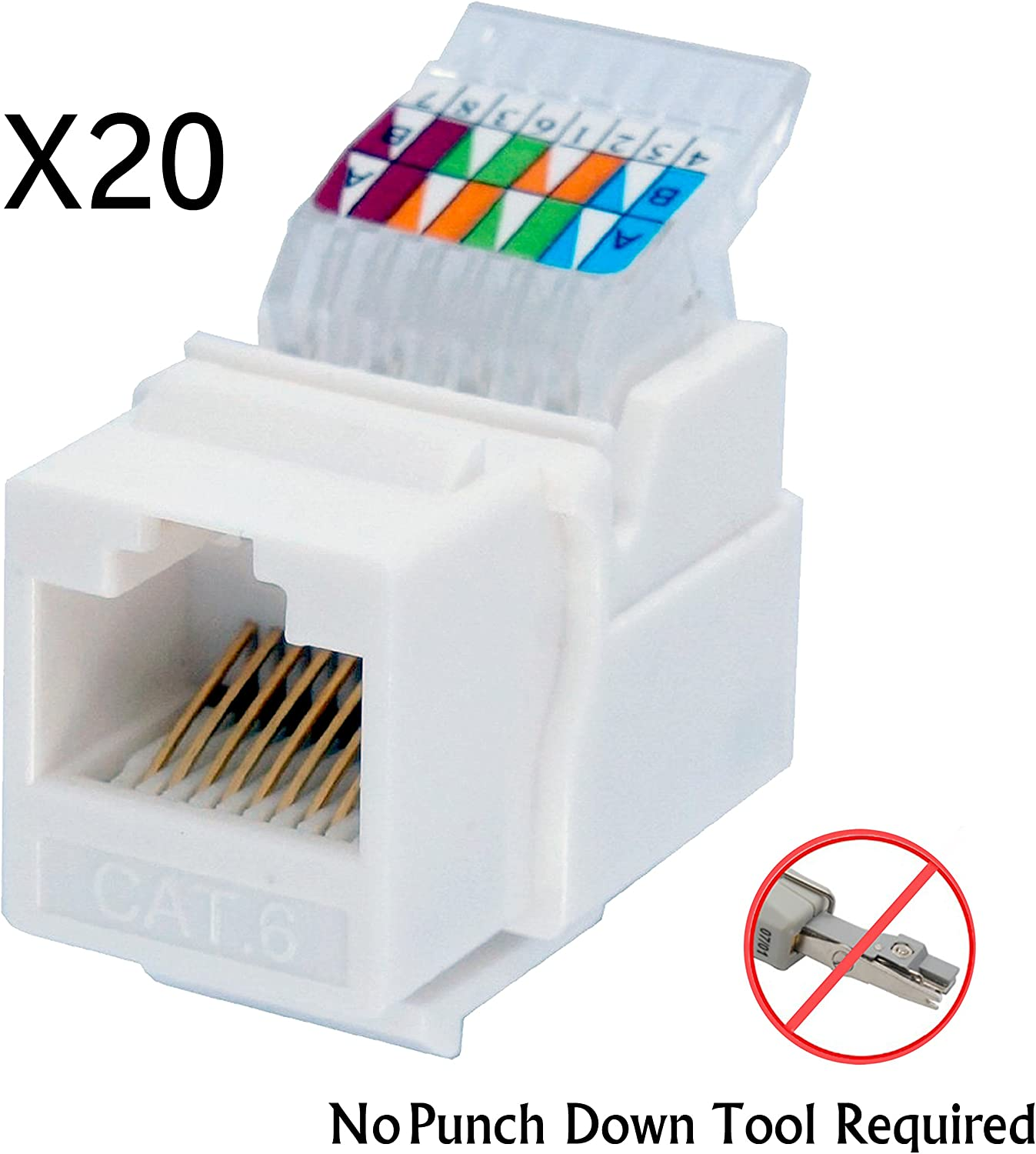 Amazon.com: IDC RJ45 CAT6/CAT5e Tool-Less No Punch Down Tool Required Gold  Plated Keystone Jack, 10 GB Ethernet Cable Patch Panel Wall Plate w  Standard Keystone Port, with Color Coded Wiring Schema Snap | Punch Cat 5 Wiring Diagram |  | Amazon.com