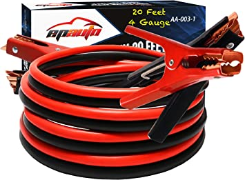 EPAuto 4 Gauge x 20 Ft Heavy Duty Booster Jumper Cable with Travel Bag and Safety Gloves (4 AWG x 20 Feet): image