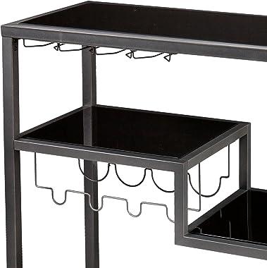SEI Furniture Zephs Metal and Tempered Glass Locking Castor Wheels Bar Cart, 40 W x 16 D x 37.25 H, Gunmetal, Black