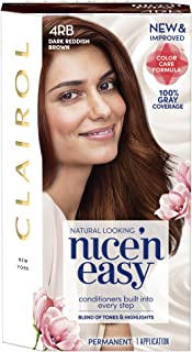 Clairol Nice'n Easy Permanent Hair Color, 4RB Dark Reddish Brown, 1 Count