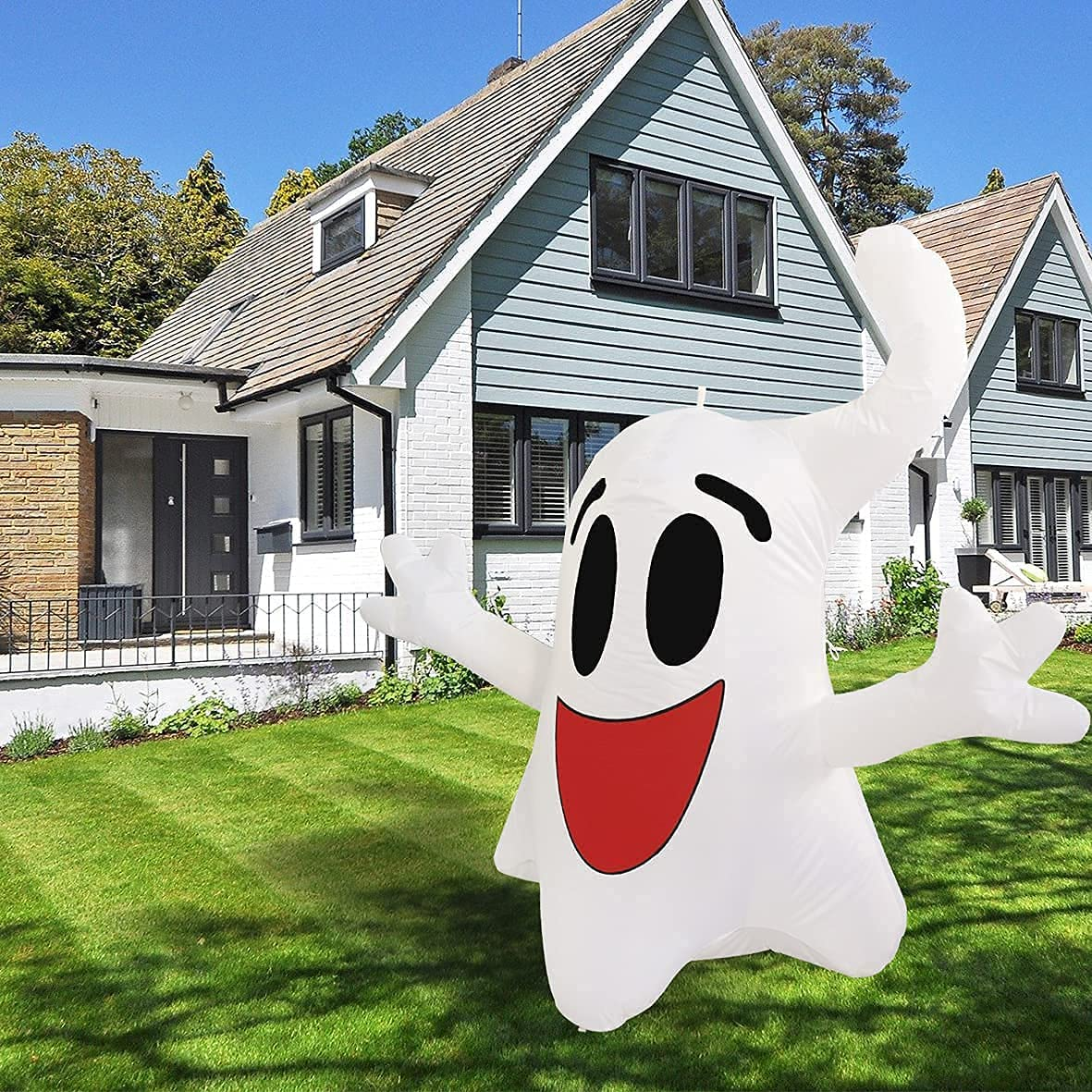 Halloween Inflatable Decoration 4ft Hanging Happy Ghost with Built-in Color-Changing LED Light Blow-up Yard Decoration COMIN Halloween Inflatables for Party/Indoor/Outdoor/Yard/Garden/Lawn