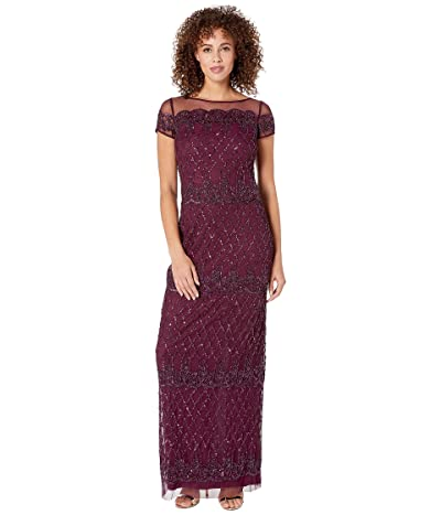 Adrianna Papell Scalloped Bead Column Evening Gown (Cassis) Women