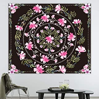 Floral Mandala Tapestry Floral Sketched Medallion Tapestry Black Mandala Tapestry Bohemian Mandala Wall Hanging Tapestries Hippie Tapestry for Bedroom Living Room Dorm Room 51.2 x 59.1