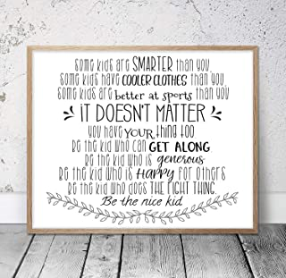 Wendore 20x29cm Some Kids are Smarter Than You Be The Nice Kid Children Prints Kids Room Decor Teen Room Wall Art Classroom Posters -834791