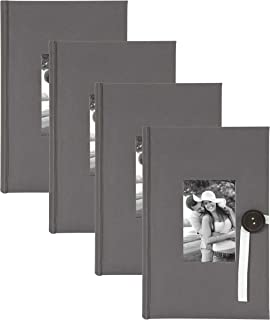 DesignOvation Kim Gray Fabric Photo Album with Ribbon and Button Closure, Holds 300 4x6 Photos, Set of 4