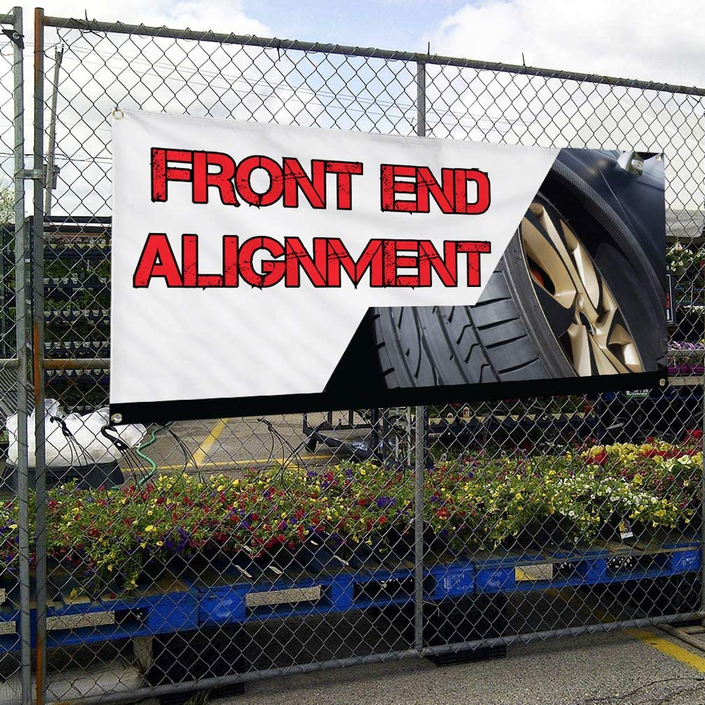 Vinyl Banner Multiple Sizes Front End Alignment Advertising Printing Automotive Outdoor Weatherproof Industrial Yard Signs White 8 Grommets 48x96Inches