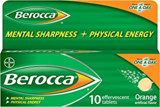 Berocca Energy Vitamin Supplement for Mental Sharpness and Physical Energy Support, Orange Flavor, Effervescent Tablets wi...