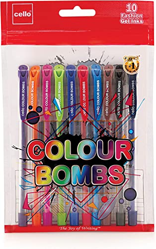 Cello Colour Bombs 10pc Coloured Ink Gel pens assorted CEL1009369