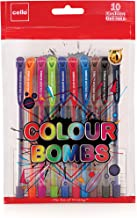 Cello Colour Bombs coloured ink Gel pens - Pack of 10 (Assorted) | 10 vivid ink colours | Ideal for art, project work, journal work, presentations